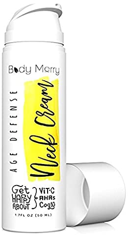 Body Merry Age Defense Neck Creme Verschärfung AntiFalten & Hals Firming AHA Lotion W Glykolsäure + Vitamin C + CoQ10 Kann als Daily Face Feuchtigkeitscreme