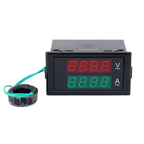 Foto de LED Dual Amperímetro Voltímetro Digital Amplificador Voltímetro 100 Probador Medidor de Corriente Alterna 300v
