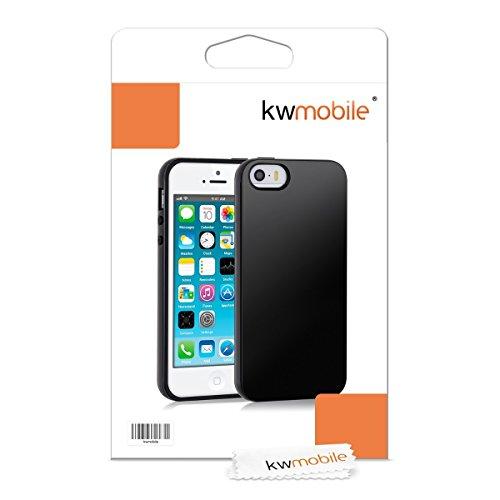 kwmobile Hülle für Apple iPhone SE / 5 / 5S - TPU Silikon Backcover Case Handy Schutzhülle - Cover Metallic Rosegold .Schwarz