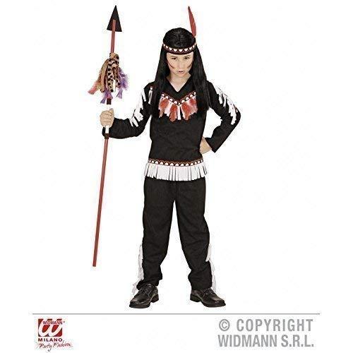 Lively Moments schwarzes Kinder - Kostüm Indian Boy (Coat, Hose, Stirnband) Kinderkostüm Gr. 8 - 10 Jahre ca. 140 cm