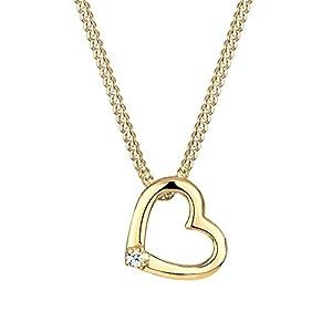 Diamore Damen Halskette mit zartem Herz Anhänger Liebe mit Diamant (0,02 ct.) in 925 Sterling Silber 45 cm lang