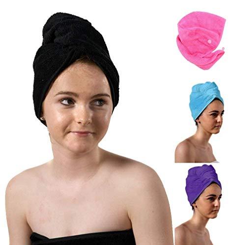 aztex Haarturban-Handtuch, Kopftuch, Haartrockentuch mit Schlaufe und Knopfverschluss, saugfähig, leichte Baumwolle, 64 x 23 cm, Schwarz -