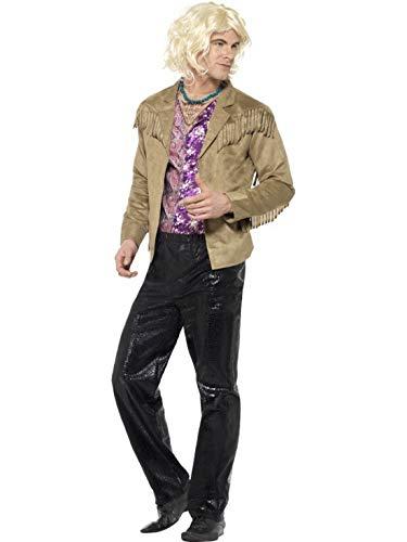 Luxuspiraten - Herren Männer 90er Jahre Zoolander Hansel Kostüm mit Jacke, Hose, Hemdteil und Kette, perfekt für Karneval, Fasching und Fastnacht, L, Braun