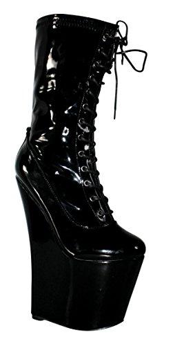 Erogance Lack Extrem Plateau High Heels Stiefeletten, Stivali donna 41 Nero (nero)