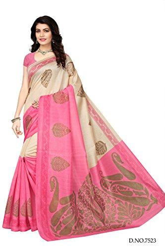 Mrinalika-Fashion-Art-Silk-Saree-With-Blouse-Piece-PinkFree-Size