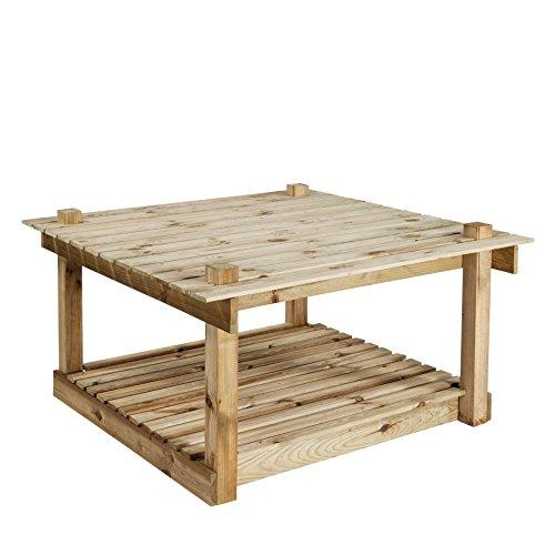 PUR'GARDEN 3760217461472 Table pour Potager, Bois Naturel, 120 x 60 x 12.5 cm