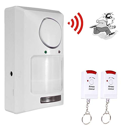 Kit Alarme Intrusion Maison sans Fil Fonction Capteur De Porte Magnétique + 2 télécommandes Remise Garage Caravane (Blanc)