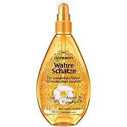 Garnier Wahre Schätze Haar-Öl, Haarkur für intensive Haarpflege (mit Argan-Öl & Camelia-Öl - für trockenes Haar) 1 x 150 ml)