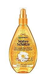 Garnier Wahre Schätze Schwereloses Haaröl, Haarkur mit Arganöl aus Marokko, Haarpflege für trockenes Haar, 150ml