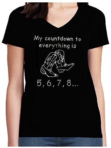 Elegantes Damen Shirt Line Dance Spruch My Countdown to Everything is 5, 6, 7, 8 Strass Western Line Dance Shirt, T-Shirt, Grösse XXXL, Schwarz