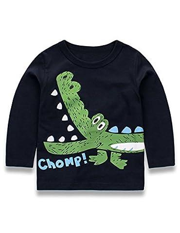 Kkia Mädchen Jungen Print Elephant Top Baumwolle Sweatshirt Round Neck Langarmshirt 1-6 Jahren, 1-Marineblau, 92/1-2