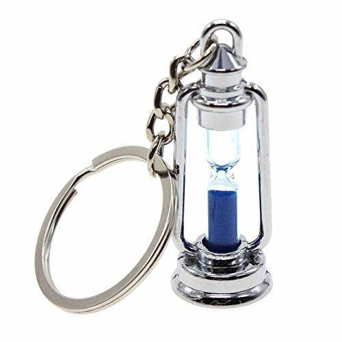 VANKER Metal de plata lámpara en forma de reloj de arena arena temporizador anillo llavero de la baratija de la novedad - Azul