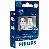 Philips 127996000KX2 X-treme Vision LED T10 6000K CeraLight, Diffusione Uniforme della Luce a 360°