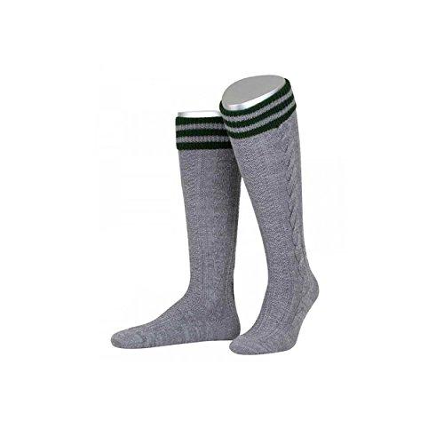ALMBOCK graue Trachten Stutzen | lange Trachtensocken für Männer in hellgrau | Herren Trachtenstutzen in den Größen 40-47 (Graue Wolle Runde)