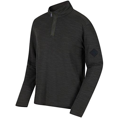 Regatta Mens Parnel Lightweight Half Zip Fleece Thermal Pullover Dark Khaki XL