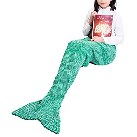 Mermaid Tail Blanket by SunnyTrip, Fishtail Blanket for Women and Girls, Fuzzy Knit Throw in Various Vivid Colors, Fashionable and Stylish, Wonderful Gift for Your Best Friend / Wife / Mother / Daughter (Green, Kid)