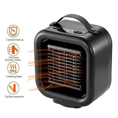 JXFF Mini Calentador eléctrico, eléctrico Personal Mini Ventilador del Calentador con Auto...