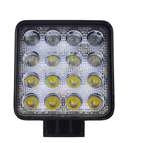 48W LED DRL Faro da Lavoro Impermeabile Quadrato Luce Super Luminoso Faretto per Fuoristrada Auto Motociclo (Nero) ITjasnyf