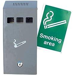 Cendrier extérieur mural Astoria Homeware. Bac à cigarettes pour usage extérieur. Acier inoxydable gris avec serrure. Panneau « Zone fumeurs » inclus.