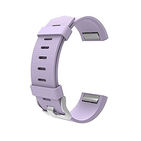 For Charge 2 Accessories Classic Band, Wearlizer Silicone Replacement Strap For Sport Fitness Tracker Fitbit Charge 2 - Large Light Purple