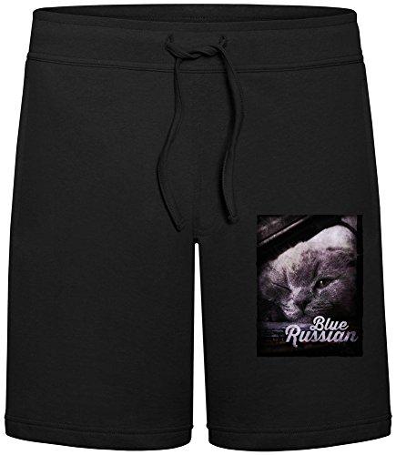 Harma Art Blue Russian Sommer Sweat-Shorts für Männer - 80% Baumwolle, 20% Polyester - Hochwertige Hosen für Indoor & Outdoor-AktivitäTen Medium (Black Russian Hose)