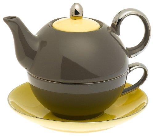 Yedi Houseware Classic Coffee and Tea Siena Tea For One with Saucer, Dark Grey/Yellow by Yedi Houseware Siena Server
