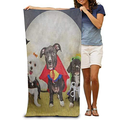 BNUJSAGIF Super weiches Badetuch Hipster Welpe Hund in Halloween-Kostümen schnell trocknend Strandtuch Reisetuch Schwimmbadetuch Große Größe 80 cm x 130 cm (Hunde Hipster Kostüm)
