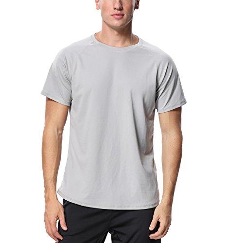Guard Rash Kurzarm Männer (Attraco Herren Bademode Rash Guard UV Shirts Kurzarm Surf Shirt Badeshirt UPF 50+ Hellgrau L)
