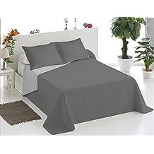 ForenTex - Colcha Boutí, (SQ-GG), Reversible, Bicolor Gris Gris Claro, cama 90 cm, 180 x 260 cm, +1 funda cojín 50 x 70 cm, 220 gr/m2 (relleno ligero 80gr/m2)
