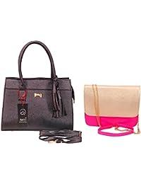 Anemone Women's Shoulder Bag 04 And Sling Bag Combo (Black Pink)