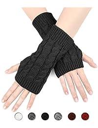 3885c052fbf55a ECOMBOS Damen Handschuhe Fingerlos, Winter Handschuhe Fingerlose Fäustlinge  Damen Fingerhandschuhe Warm