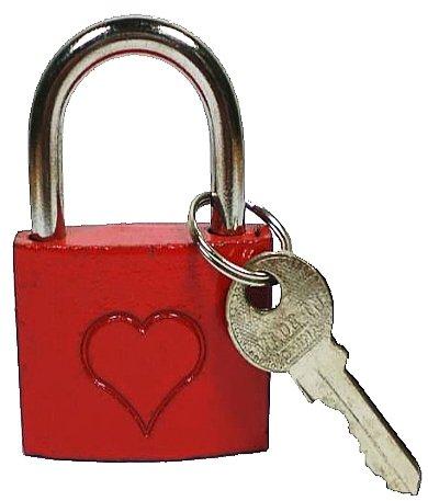 *Liebesschloss Schloss Vorhängeschloss Bügelschloss Rot 1 Stück, Liebesschloß:Mit Herz*