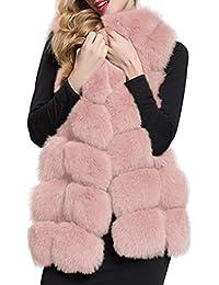 Cappotto Lungo da Donna - Senza Maniche Giacca Rivestimento del Cappotto del Cappotto di Pelliccia del Faux di Caldo Inverno Gilet Lungo