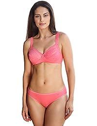 2a60364f06 Lovable Non Wire Minimiser Lace Bra Encircle (596 nu) (L0596 NU Coral  Pink 36B)