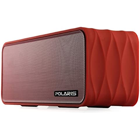Polaris V8 - 9W (4.5WX 2) Altavoz Bluetooth portátil con radio FM, Micro SD Reproductor de MP3, NFC y extraíble 18650 (Rojo)