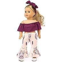 BeesClover - Conjunto de 2 Piezas de muñeca de Moda con Hombros Descubiertos y Pantalones de