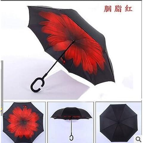 COLLECTOR Sombrilla doble paraguas-generación inversa sin Auto reversa el paraguas plegable paraguas,Carmine