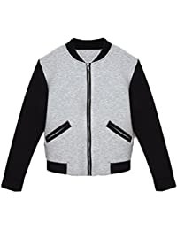 f539f5715ff00 Women s Autumn Elegant Long Sleeve Stand Collar Zip Up Short Length  Baseball Bomber Jacket With Pockets