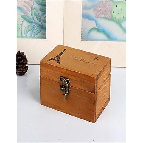 LBLI Caja de almacenamiento caja de la artesanía de madera torre de muebles para el hogar de cosecha de madera con cerradura JIAJU-YONGPING #1452