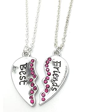 Kette, Motiv: Best Friends (Beste Freunde), 2Stück, Herz-Anhänger, Halskette mit Strass, Freundschaft, Halskette
