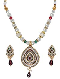 Spangel Fashion Pearls White Multistrand Moti Rani Haar Necklace Set- For Women And Girls