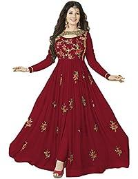 Aryan Fashion Women's Georgette Semi Sticthceds Salwar Suit (Fashion Aryan_=120_10213_ Red Free Size)