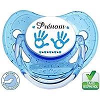 Tétine bébé avec 2 mains bleu et prénom