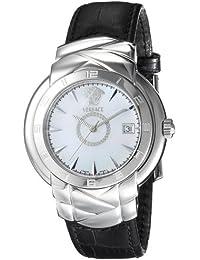 Versace Atelier KLQ99D001S009 - Reloj de caballero de cuarzo con correa de piel negra