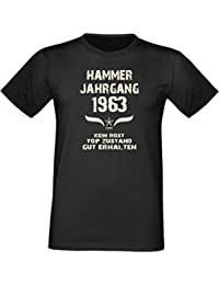 Humorvolles Happy-Birthday Fun-t-shirt Geschenk für den liebsten Menschen mit Sprüche-Motiv: zum 53. Geburtstag Hammer Jahrgang 1963 Farbe: schwarz