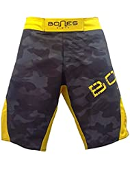 "'""Bones Fight > Fight Short, MMA Short, BJJ, MMA Pantalones Cortos, Freefight–Pantalones cortos, diseño de camuflaje, color Gelb/camouflage/grün, tamaño M"