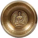 Mano tibetana martillado meditación canto cuenco con Buddha hecho a mano y bolsa étnica. Para la curación, la relajación y la atención plena (Ham-Bud-Med) (B54)