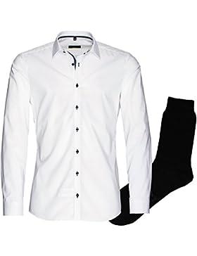 ETERNA Herrenhemd Super Slim, weiß, regulär langarm+ 1 Paar hochwertige Socken, Bundle
