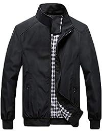 QitunC Hombre Chaqueta Bomber Plus Size Collar De Pie Cremallera Cazadora Abrigo Negro XXL