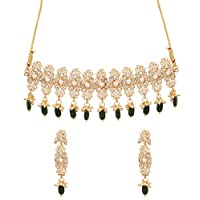 NEW! Touchstone Indian Bollywood Trends Majestic Look Mughal Inspired Balanced Faux Pearls Rhinestone Combination Faux Pearls Green Beads Designer Jewelry Choker Set In Antique Gold Tone For Women.